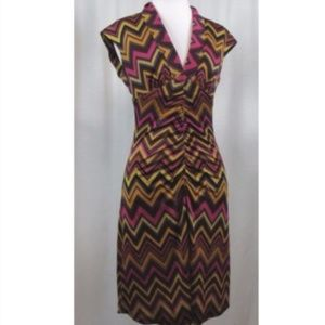 Trina Turk Multi Color Chevron Print Silk Dress 2